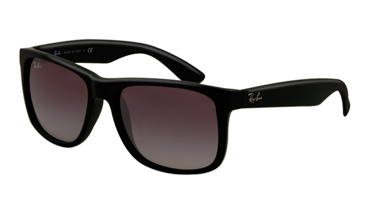 Okulary Ray Ban  4165 Justin Black Rubber / Gradient Grey Orb4165-601/8G