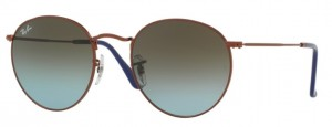 RAY BAN ROUND METAL Shiny Bronze / Blue Grad. Brown ORB3447-900396