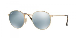 Okulary RAY BAN 3447N ROUND METAL Shiny Gold / Grey Flash ORB3447N-001/30