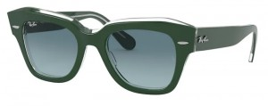 Okulary RAY BAN STATE STREET Green on Transparent / Blue Gradient Grey RB2186-12953M