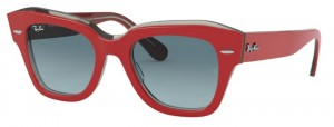 Okulary RAY BAN STATE STREET Red on Transparent Grey / Blue Gradient Grey RB2186-12963M