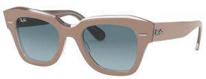 Okulary RAY BAN STATE STREET Beige on Transparent / Blue Gradient Grey RB2186-12973M