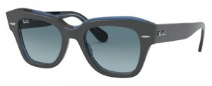Okulary RAY BAN STATE STREET Grey on Transparent Blue / Blue Gradient Grey RB2186-12983M