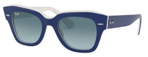 Okulary RAY BAN STATE STREET Blue on White / Blue Gradient Grey RB2186-12993M
