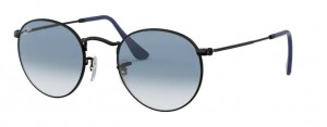 Okulary RAY BAN 3447 ROUND METAL Matte Black / Clear Gradient Blue ORB3447-006/3F