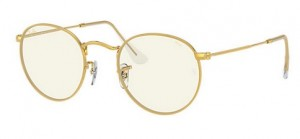 Okulary RAY BAN ROUND METAL Legend Gold / Photo Grey Blue Light Fliter ORB3447-9196BL