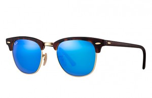 Okulary RAY BAN 3016 CLUBMASTER Sand Havana/Gold / Grey Mirror Blue ORB3016-1145/17