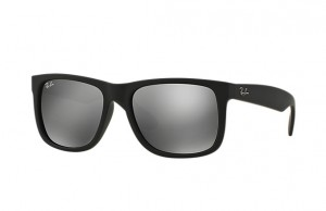 Okulary RAY BAN 4165 JUSTIN Rubber Black / Grey Mirror Silver  ORB4165-622/6G