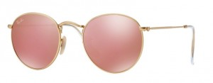 Okulary RAY BAN ROUND METAL Matte Gold /Mirror Pink ORB3447-112/Z2