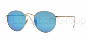 Okulary RAY BAN ROUND METAL Matte Gold / Blue Mirror Polarized ORB3447-112/4L