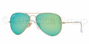 3025 AVIATOR LARGE / Matte Gold / Green Mirror Polarized / ORB3025-112/P9