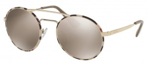 Okulary PRADA Pale Gold Tortoise / Light Brown Mirror Gold PR51SS-UAO1C0