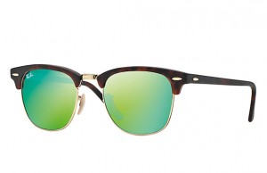 Okulary RAY BAN 3016 CLUBMASTER Sand Havana / Gold / Grey Mirror Green ORB3016-114519
