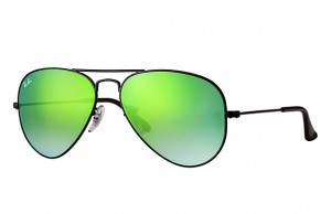 3025 AVIATOR LARGE METAL / Shiny Black / Mirror Gradient Green / ORB3025-002/4J
