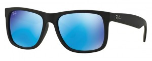 Okulary RAY BAN 4165 JUSTIN Rubber Black / Green Mirror Blue ORB4165-622/55