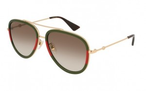 Okulary Gucci Green Red / Brown Shaded GG0062S-008