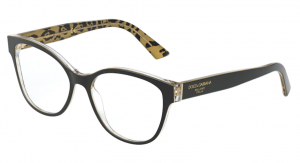 Okulary DOLCE&GABBANA BLACK ON LEO GLITTER GOLD DG3322-3235