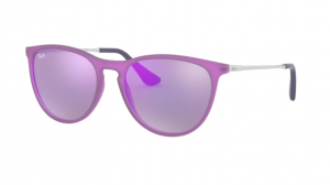 Okulary RAY BAN JUNIOR ERIKA VIOLET FLUO TRANSP RUBBER/GREY MIRROR VIOLET ORJ9060S-70084V