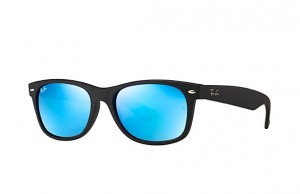 RAYBAN NEW WAYFARER Rubber Black / Grey Mirror Blue RB2132-622/17