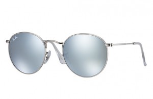 Okulary RAY BAN ROUND METAL Matte Silver / Green Mirror Silver ORB3447-019/30