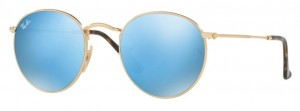 Okulary RAY BAN 3447N ROUND METAL Shiny Gold / Light Blue Flash ORB3447N-001/9O