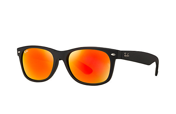 Okulary RAY BAN 2132 NEW WAYFARER Rubber Black / Brown Mirror Red RB2132 622/69